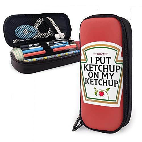 Estuche grande para lápices, I Put Ketchup On My Ketchup, organizador de papelería de gran capacidad con compartimentos para niñas y adultos