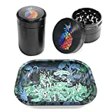 Metal Rolling Tray Combo Kit with Aluminum Herb Grinder,Smell Proof Jar Set
