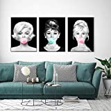 WKHRD Audrey Hepburn Decoración de Pared Marilyn Monroe Poster Pop Art Canvas Print Póster nórdico Cuadros de Pared de Moda para Sala de Estar Dormitorio | 40x50cmx3 (Sin Marco)