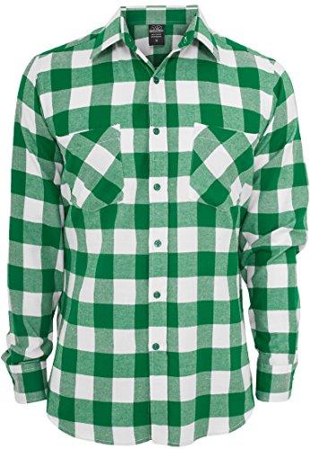 Urban Classics Herren Flanell-Hemd, kariert Medium weiß / grün