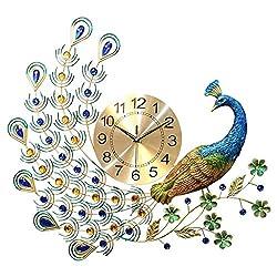 Peacock Wall Clock With Acrylic Rhinestone Decoration