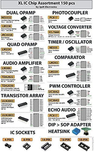 XL IC Chip Sortiment 150 Stück Opamp, Oszillator, Timer, Regulator, PWM, PC817, NE555, LM358, LM324, JRC4558, LM393, LM339, NE5532, LM386, TDA2030, TDA2822, PT2399, ULN2803, ICL7660 inkl. Sockel