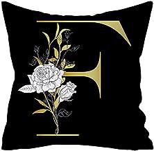 YJRIC Sofa kussensloop Bloem Alfabet Gouden 45 * 45 CM Decoratieve Kussenhoes Polyester Kussensloop Decoratieve Sofa Thuis...