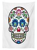 Yeuss - Mantel de decoración de calavera, estilo folclórico mexicano, diseño de calavera de azúcar, diseño étnico, carnaval, comedor, cocina, mantel rectangular, multicolor, 132 x 178 cm