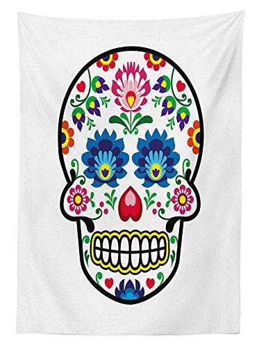 Yeuss Suiker Schedel Decor Tafelkleed Pools Folk Art Stijl Mexicaanse Suiker Schedel Ontwerp Etnische Carnaval Thema, Eetkamer Keuken Rechthoekige Tafelhoes, Multi kleuren, 52x70inch