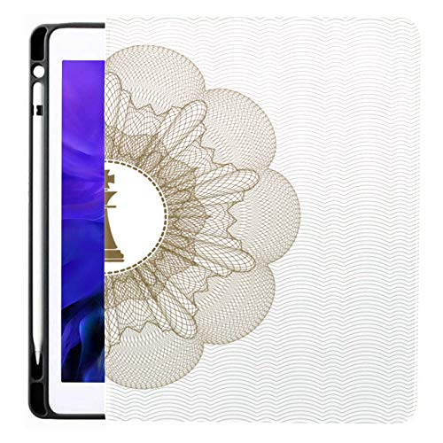 Ipad Pro 12.9 Case 2020 & 2018 With Pencil Holder Brown Abstract Rosette Chess King Icon Smart Cover Ipad Case, Supports 2nd Gen Pencil Charging,case For 2020 Ipad Pro 12.9 Cover With Auto Sleep/wake
