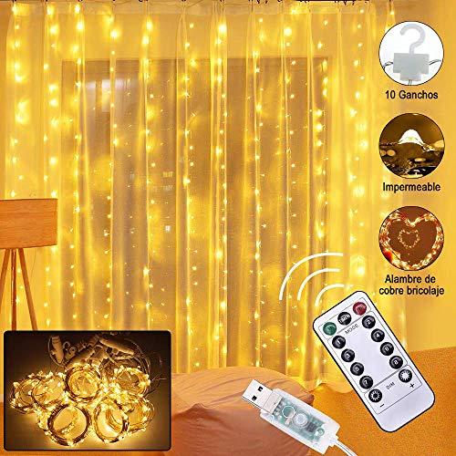 Glückluz Luces de Cortina 300LEDs 3m x 3m 8 Modos de Iluminación USB Cortina de Luz con Control Remoto lluminación de Decoración IP54 Impermeable al Aire Libre para Decoración de Ventanas para Boda Fiesta, Navidad Blanco Cálido