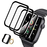 [3+1] Screen Protector Compatible with Apple Watch 44mm Series 6/5/4/SE 2020, TopACE Bubble-Free 3D Full Coverage Soft Edge Shatter-Proof HD Durable Cover Compatible with iWatch 44mm Series 6/5/4/SE
