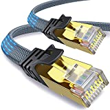 Cavo Ethernet CAT8 2m,[L'ultima versione di] Yurnero Gigabit Cavo RJ45 piatto,40 Gbit / 2000 MHz, più veloce del cavo Lan cat7 / cat6, per/router/modem/switch