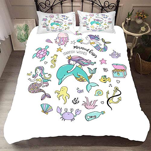 AHJJK Duvet cover set 55 x 79 inchMermaid and octopus 3D Printed Microfiber Bedding Duvet Cover with 2x Pillowcases & Zipper Closure Quilt Case for Boy Girl Single Double King Bed