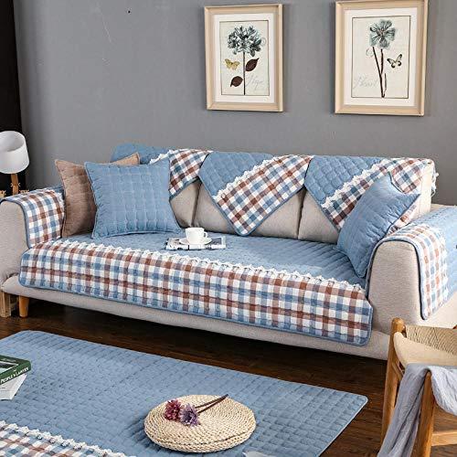 YUTJK Composable Antideslizante Resistente Anti-Suciedad Sofá Cubierta,Funda Protector De Los Muebles,Cubierta de cojín de sofá Acolchado de algodón-Azul_110×210cm