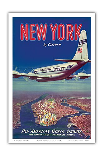 New York USA by Clipper - Boeing 377 Over Manhattan Island - Pan American World Airways - Vintage Airline Travel Poster c.1950 - Master Art Print 12in x 18in