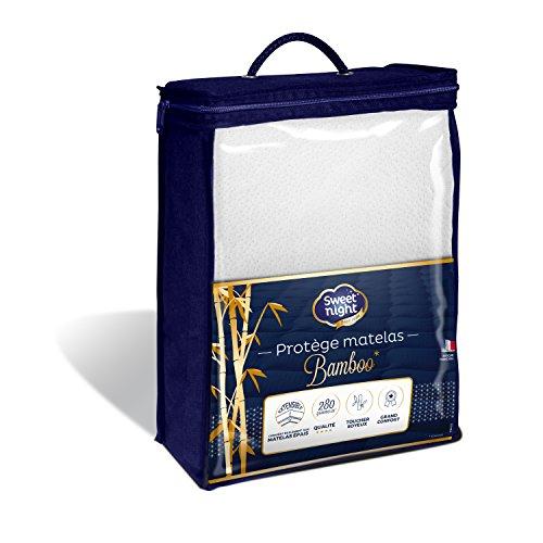 Sweetnight - Protège matelas Bamboo 140x190/200 cm | Alèse Soyeuse et Confortable | Doux et Absorbant | Compatible Grands Bonnets | Qualité Hôtellerie de Luxe