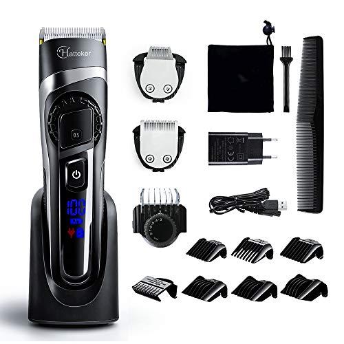 Hatteker Tondeuse Cheveux Professionelle Tondeuse Barbe 3 en 1 pour Homme Rechargeable Multifonctionnelle: Rasoir à Barbe, Cheveux, Tondeuse à Corps avec Peignes