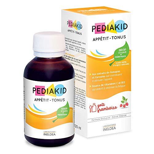 PEDIAKID - Complément Alimentaire Naturel Pediakid Appétit-Tonus - Formule Exclusive au Sirop d'Agave - Stimule l'Appétit - Aide à la Prise de Poids - Arôme Naturel Framboise - Flacon de 125 ml