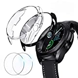 [2+2 Pack] Choiche Compatible Samsung Galaxy Watch 3 45mm Case with Screen Protector, 2 Sets Full Coverage Screen Protectors and TPU Bumper Cover Accessories for Galaxy Watch 3 (Black + Clear, 45mm)