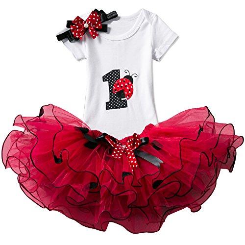 TTYAOVO Bebé Niña 1er cumpleaños 3pcs Conjuntos con Diadema de Unicornio y Mameluco y Faldas (02 Rojo, 1 año)