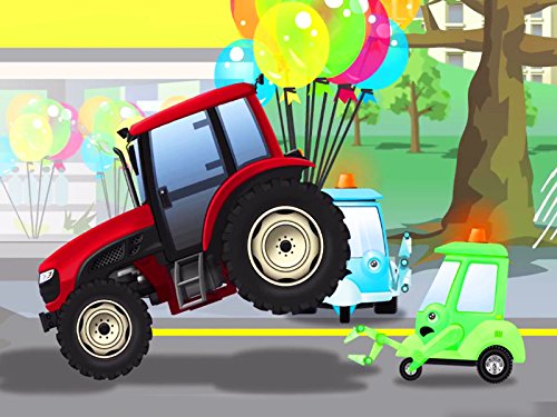 Roter Traktor mit Ballons