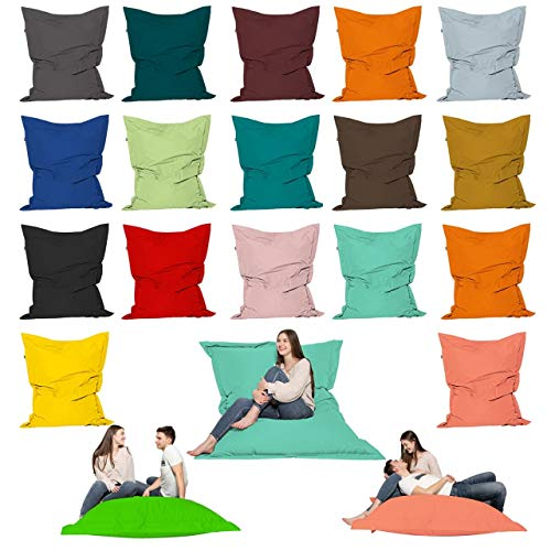 Cojín para asiento de exterior XXL para niños, para exteriores, 180 x 140 cm, color azul claro, 100 x 145 cm