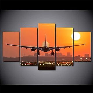 TYUIOP صور مطبوعة عالية الدقة ديكور المنزل 5 قطع طائرة غروب الشمس اللوحة وحدات جدار الفن المناظر الطبيعية غرفة المعيشة