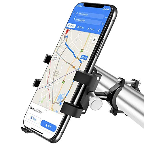 Bike Phone Holder,Metal Phone Mount for Bicycle/Mountain Bike/Motorbike, Support 360° Screen Rotate Bike Phone Mount Compatible with Width 2.28-3.39' iPhone, Samsung,Huawei,Google,etc