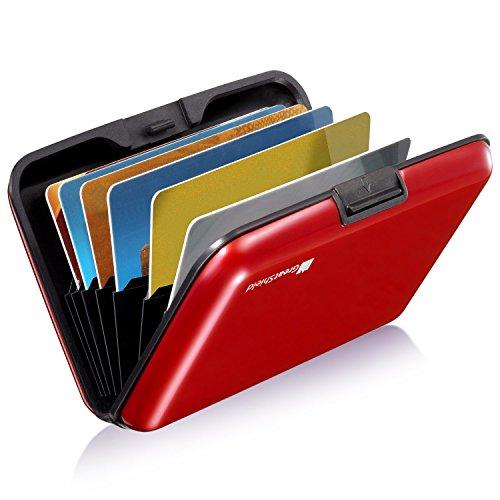 GreatShield Portafoglio di Blocco RFID [8 Slot | Alluminio] Titolare della Carta di Protezione dell'identità - Rosso