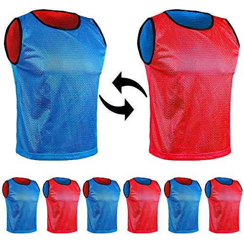 SPORTSBIBS 6X Petos Respirable de Fútbol - Juego de 6 Piezas - Camisetas de Dos Caras de Malla Abierta y Ligera, Chaleco De Entrenamiento T-Shirt Ejecutar Unisex Sport S M L XL
