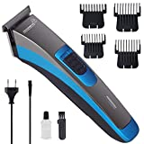 Professional Feel Low Noise USB Cord ABS Electric Rechargeable Cordless Beard Hair Trimmer Cum Clippers Cutting Kit for Men for Daily Travel Use Combs Brush (Blue)