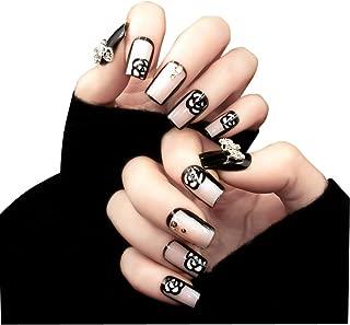 TBOP FAKE NAIL art reusable French long Artifical False nails 24 pcs set Floral in Black color
