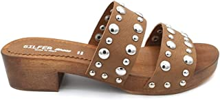 Silfer Shoes Zoccolo in Vero Legno e Vera Pelle Urban Cuoio 1