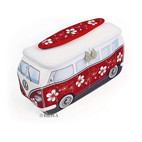 BRISA VW Collection - Volkswagen T1 Bulli Bus Universal-Schmink-Kosmetik-Kultur-Reise-Hausrats-Tasche-Mäppchen-Beutel (Neopren/Rot/Weiß)