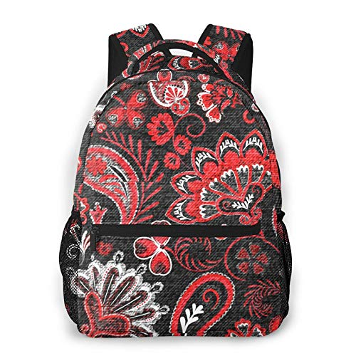 Denim Floral Paisley Flowers Unisex Polyester Canvas Casual Fashion Large Capacity Multi Function Backpack