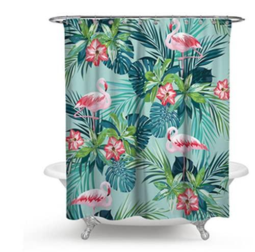 Hylulu Duschvorhang, Wasserdicht Bad Vorhang aus Polyestergewebe mit Tropische Pflanzen Flamingo Blumenmuster Duschvorhänge Waschbar Duschtrennvorhang 180 x 180 cm