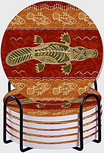 CIKYOWAY Posavasos para Bebidas,Australia Pez ornitorrinco Tribal Obra de Arte Australiana Animales aborígenes Vida Salvaje Dot Outback Life Juego de 6 Posavasos con Soporte para casa
