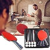 HJX888 Set de Ping Pong,4 Raquetas de Tenis de Mesa |8 Pelotas de Ping Pong | 1 Retráctil Mesa, Ping Pong Profesional Portátil para Juegos de Interior y Exterior