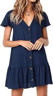 Bestyou Women's Swimsuit Cover Up Swimwear Button Down Shirt Beach Mini Dress Loose Tunic Top