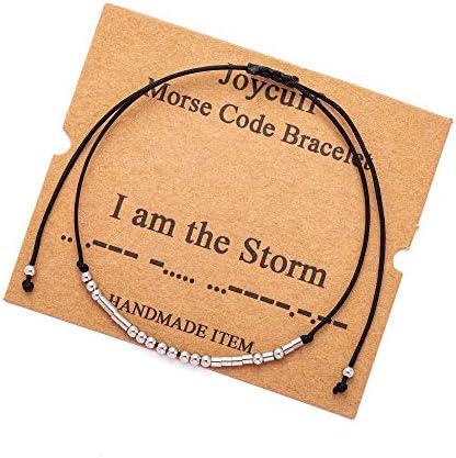 I am the Storm Morse Code Bracelets for Women Teen Girls Fashion Trendy Silk Wrap Bracelet Inspirational product image