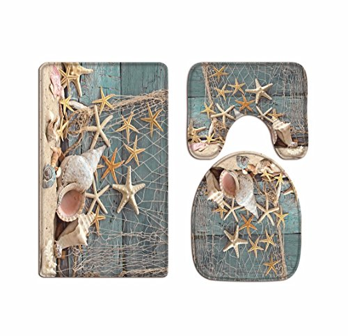 A.Monamour Blue Wooden Boat Nautical Décor Marine Fishing Net Sea Stars and Shells Print Flannel Cloth Washable Toilet Seat Covers Toilet Lid Covers Cushions Pads Skidproof Bath Mat Rug for Toilet