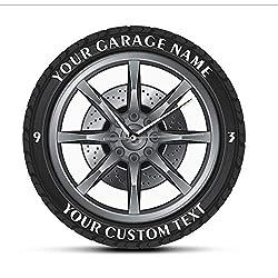 Huanxidp Car Service Repair Garage Owner Tire Wheel Custom Car Auto Wall Clock Watch Vintage Cool Mechanic Gift Ideal for Car Workshop Diameter: 30cm