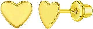 925 Sterling Silver Plain Small High Polish Heart Safety Screw Back Earrings for Girls