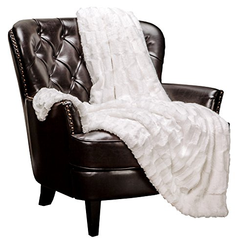 Chanasya Fuzzy Faux Fur Rectangular Embossed Throw Blanket - Super Soft and Warm Lightweight Reversible Sherpa for Couch, Home, Living Room, and Bedroom D