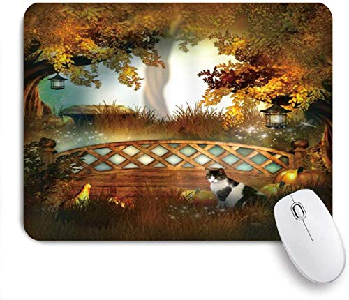 Gaming Mouse Pad rutschfeste Gummibasis, Halloween niedliche Katze Tier Big Tree Zaun Pflanze Kürbis Laterne, für Computer Laptop Schreibtisch
