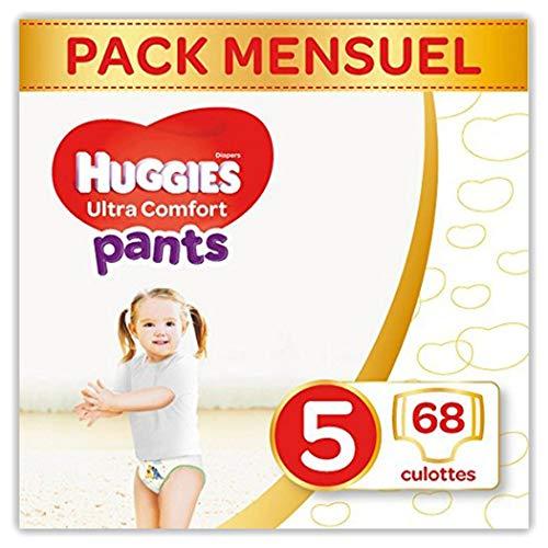Huggies Ultra Comfort Pants, Culottes absorbantes bébé Taille 5 (12-17 kg), 68 culottes, Unisexe, Pack 1 mois de consommation