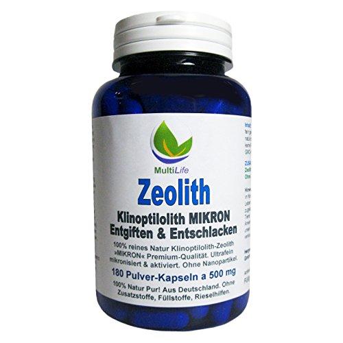 MultiLife Zeolith Klinoptilolith MIKRON 180 Pulver Kapseln a 500 mg. Ohne Nanopartikel ultrafein mikronisiert & aktiviert. Natur Pur aus Deutschland - OHNE Zusatzstoffe. 26147