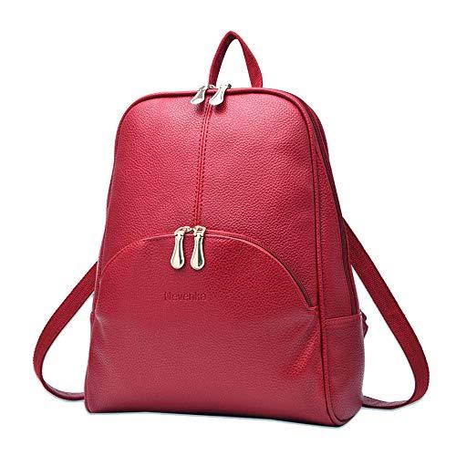 Nevenka Rucksack Damen Cityrucksack Daypack Tagesrucksack PU Leder Zweiwege Reißverschluss Elegantes Design (Rot)