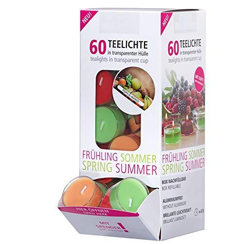 Smart-Planet - Juego de 60 velas de té con aroma tropical de mango, caja dispensadora de cartón, velas aromáticas en funda de plástico transparente