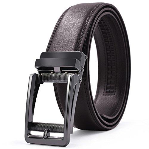 「ロマネ・コンティ」 ベルト メンズ 革 ブラック ブラウン オートロック式バックル レザー 紳士 穴無し ビジネス カジュアル カットフリータイプ 箱付き 茶色 方型 125cm