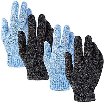 Ruisita 2 Pair Exfoliating Bath Gloves Double Sided Bath Gloves Deep Clean Dead Skin Microfibre Shower Body Gloves