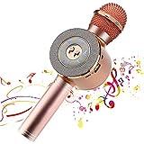 Reproductor de micrófono inalámbrico Bluetooth Karaoke con luces LED, máquina portátil portátil de altavoces de karaoke recargable, compatible con PC con Android iOS (Rose Pink)