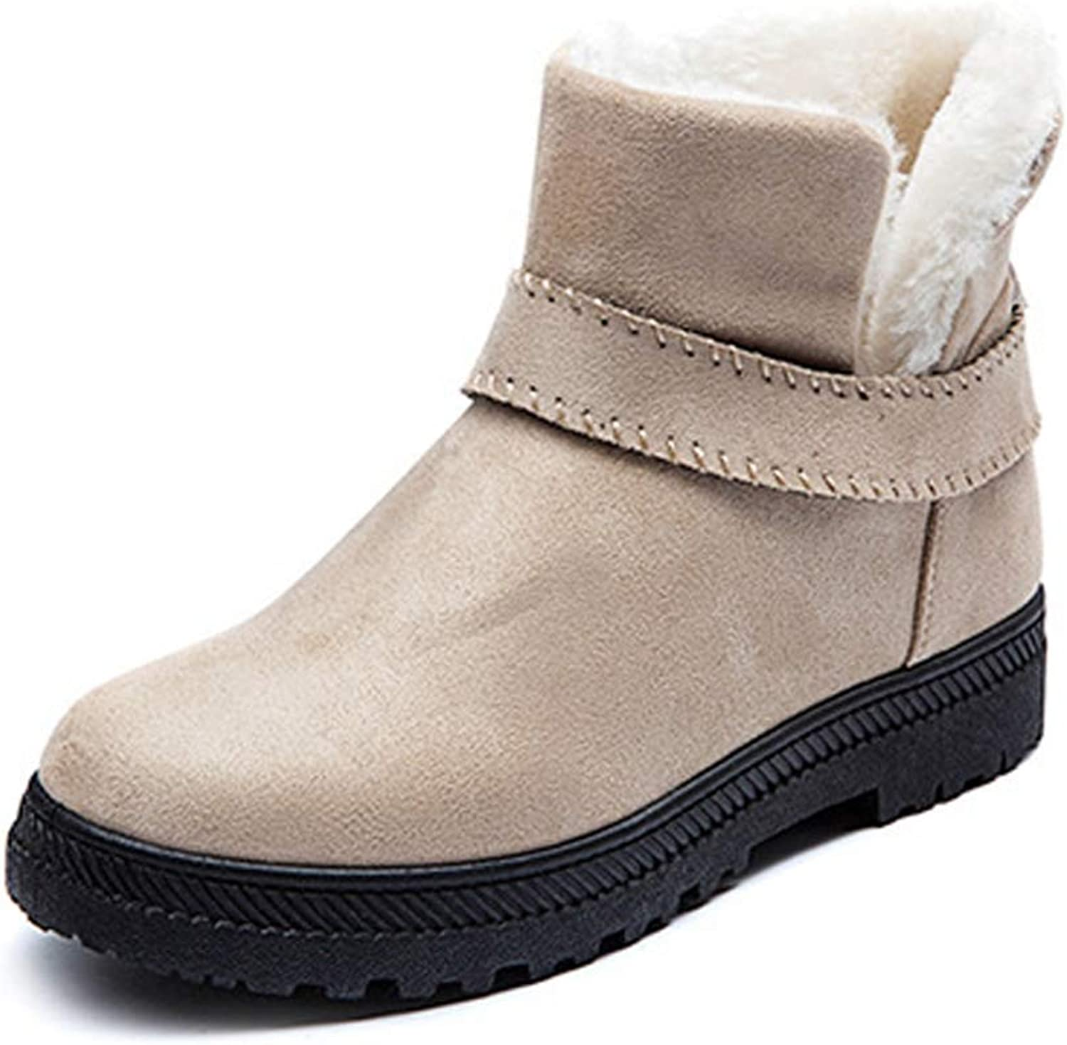 Women Ankle Boots Warm Winter shoes Women Snow Boots Buckle Round Toe Flat with Short Boots